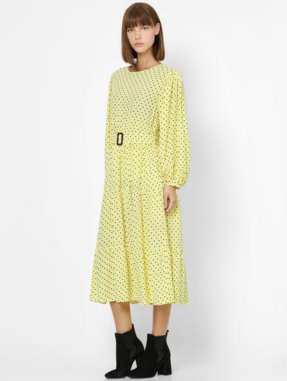 Yellow Polka Dot Midi Dress