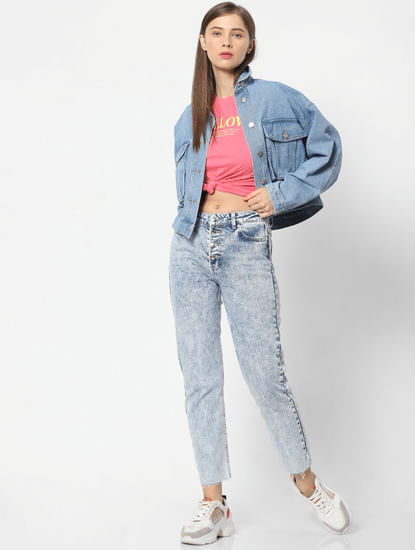 Blue Washed Boxy Fit Denim Jacket