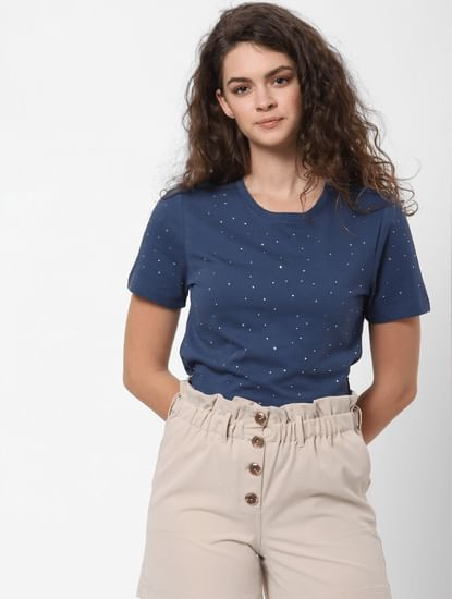 Blue All Over Studded T-shirt
