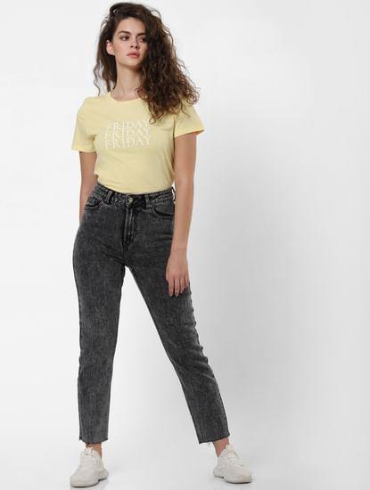 Yellow Friday Text Print T-shirt