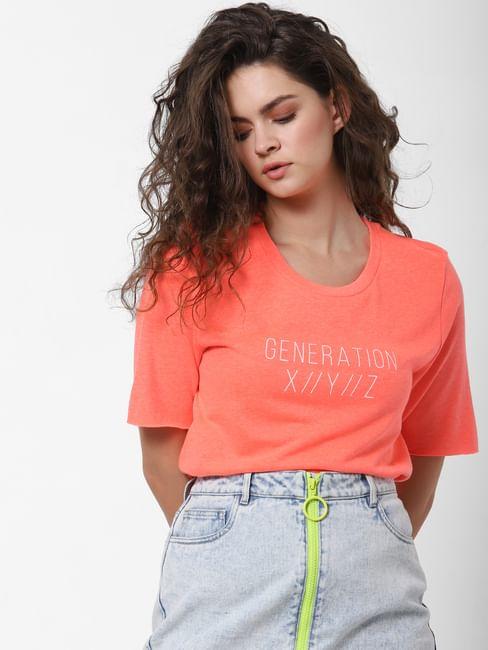 Coral Text Print T-shirt