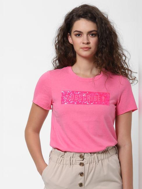 Pink Embellished Print T-shirt