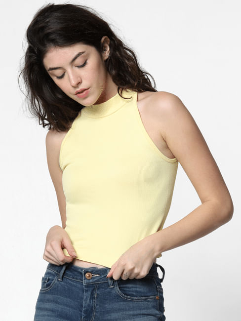 Yellow Halter Neck Crop Top