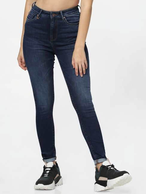 Dark Blue High Rise Skinny Fit Jeans
