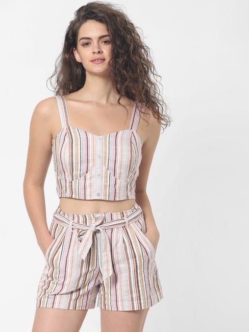 Pink Striped Crop Top