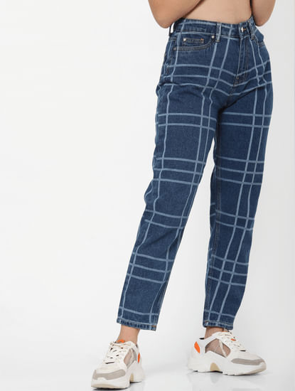 Blue High Rise Check Mom Jeans