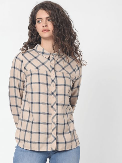 Beige Check Loose Fit Shirt