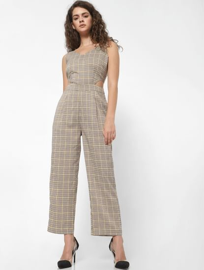 Beige Check Jumpsuit