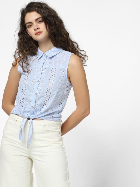 Blue Cut-Work Shirt