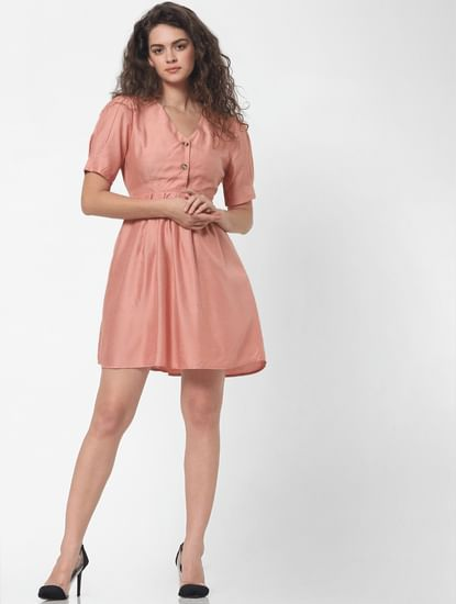 Peach Fit & Flare Dress