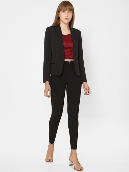 Black Front Open Blazer