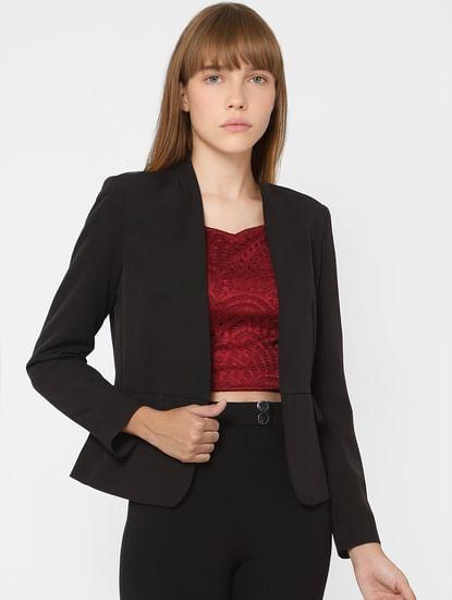 Black Front Open Blazer