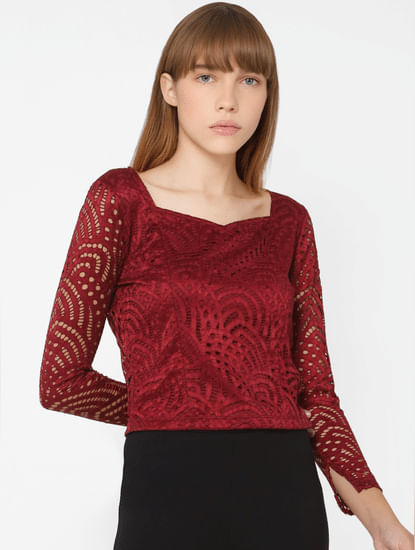 Maroon Full Sleeves Lace Top