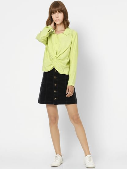 Green Front Twist Shirt