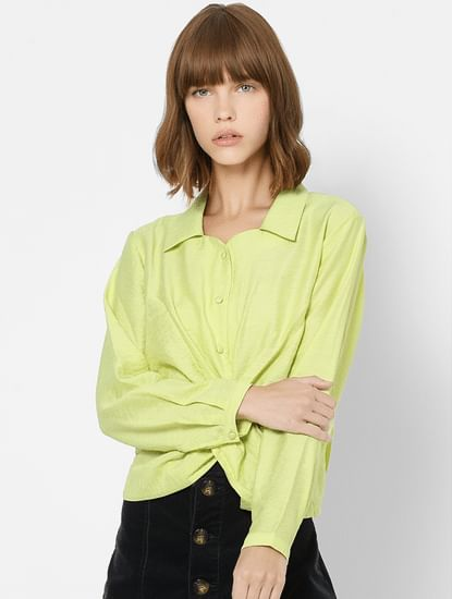 Green Front Twist Shirt