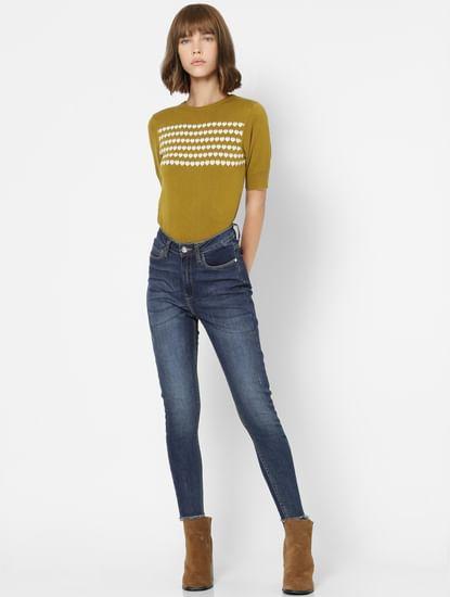 Mustard Heart Print Knit Top