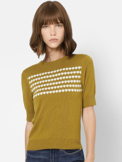 Mustard Heart Print Knit Top