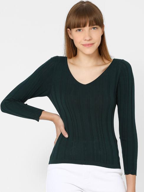 Dark Green Knit V Neck Top