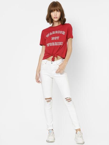 Red Slogan Print Front Tie Top