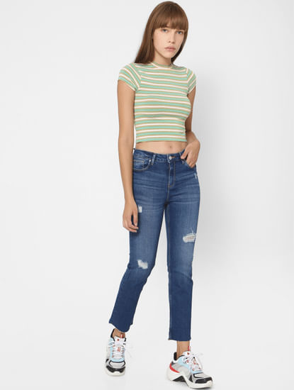 Blue Mid Rise Distressed Flared Jeans