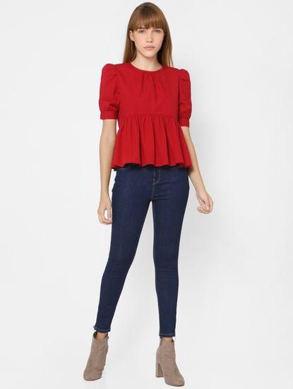 Red Puff Sleeves Peplum Top