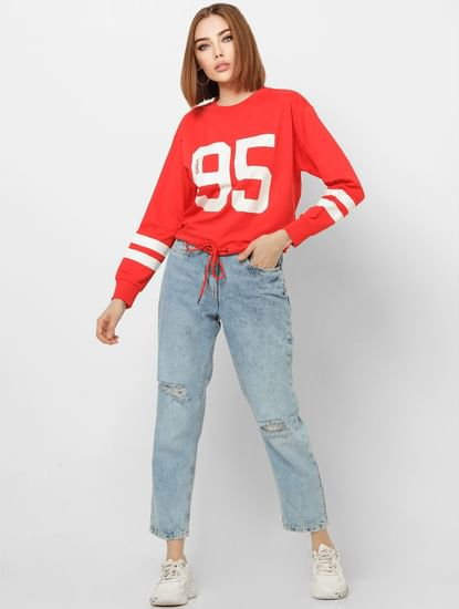 Red Number Print Front Tie Cropped Sweatshirt