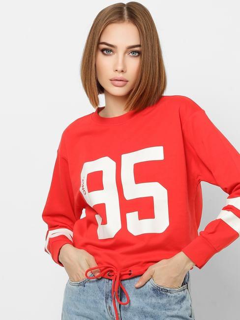 Red Number Print Front Tie Cropped Sweatshirt