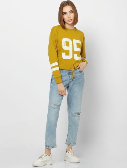 Yellow Number Print Front Tie Cropped Sweatshirt