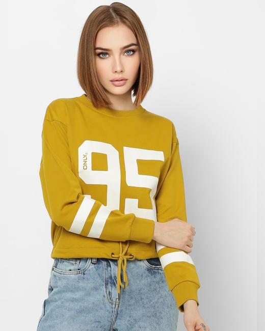 Yellow Number Print Front Tie Cropped Sweatshirt