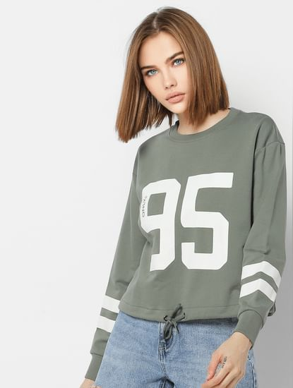 Green Number Print Front Tie Cropped Sweatshirt