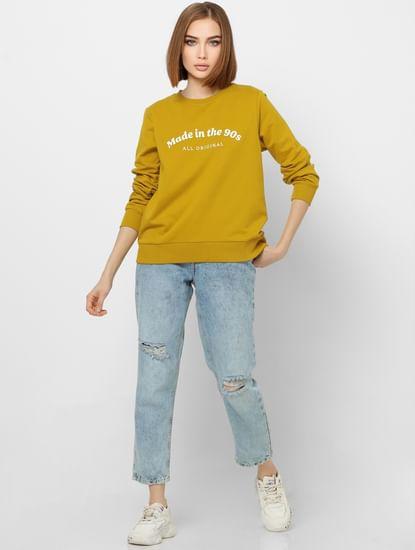 Yellow Text Print Sweatshirt