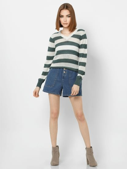 Green Striped Knit Pullover