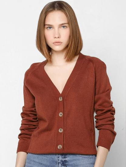 Brown Button Down Cardigan
