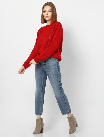 Red Cut Work Detail Pullover