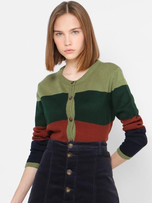Green Horizontal Striped Cardigan