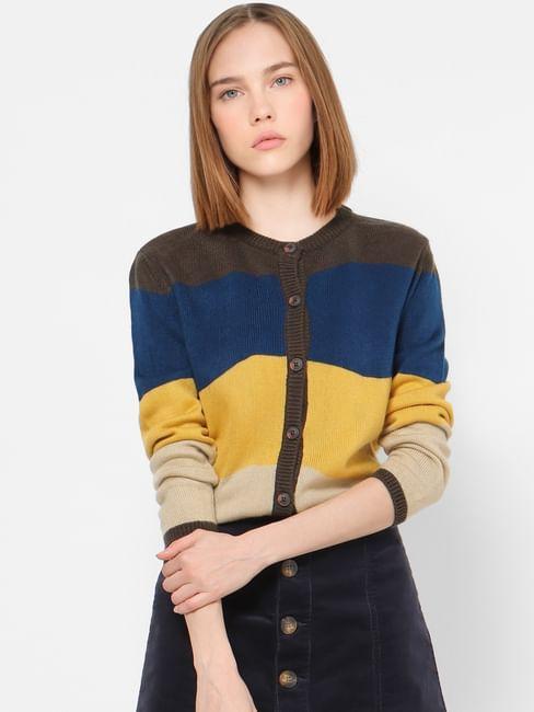 Yellow Horizontal Striped Cardigan