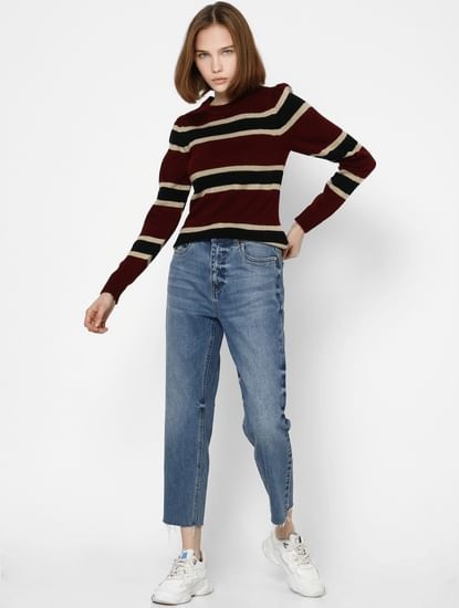 Maroon Striped Knit Pullover