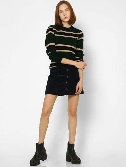 Black Striped Knit Pullover