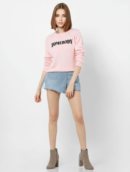 Light Pink Text Print Pullover