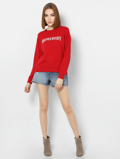 Red Text Print Pullover