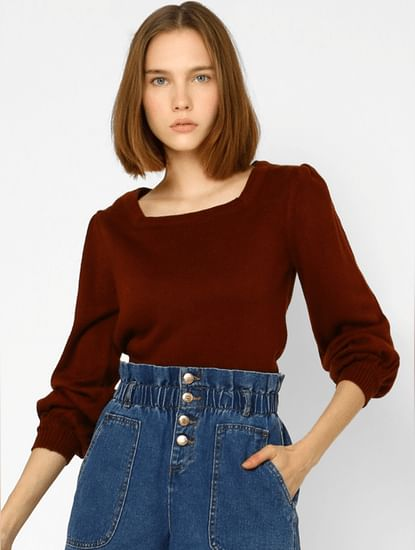 Brown Puff Sleeves Pullover