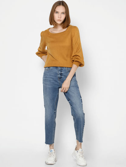 Mustard Puff Sleeves Pullover
