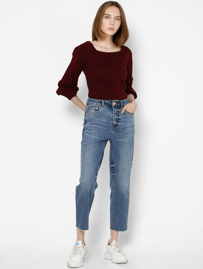 Burgundy Puff Sleeves Pullover