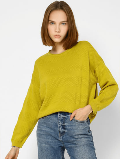 Yellow Self Design Pullover