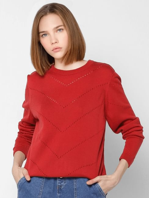Red Cut Work  Pullover