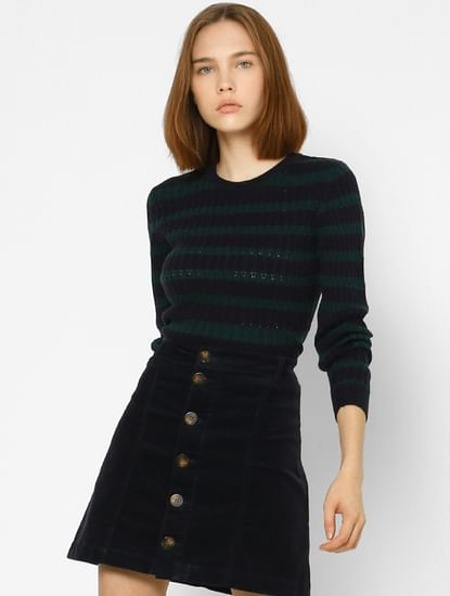 Blue Striped Textured Pullover