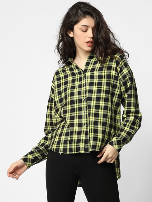 Yellow Check Loose Fit Shirt