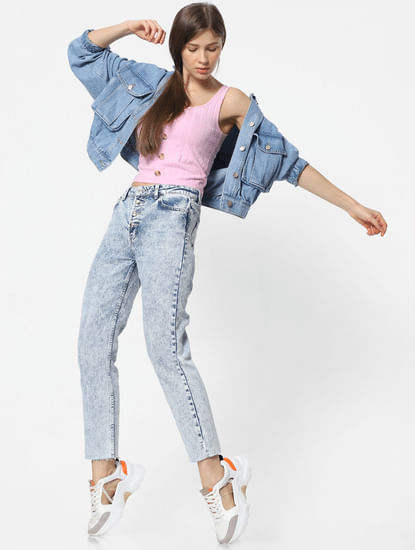 Blue High Rise Acid Washed Straight Fit Jeans