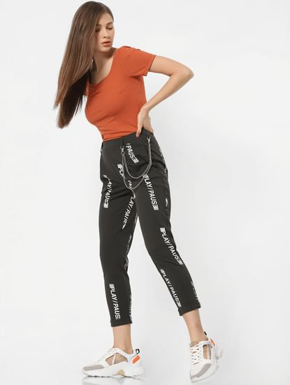 Dark Green High Rise Printed Comfort Fit Pants