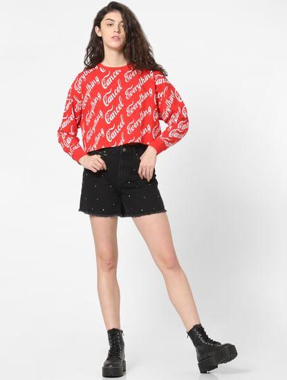 Black Mid Rise Studded Denim Shorts
